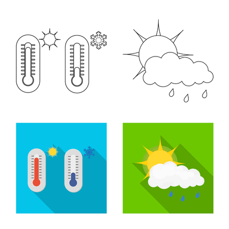 Vector illustration of weather and climate. Set of weather and cloud stock vector illustration.