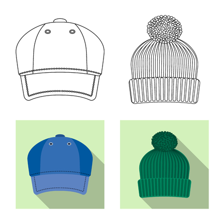 Isolated object of headgear and cap icon. Set of headgear and accessory vector icon for stock.