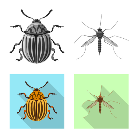 Isolated object of insect and fly sign. Set of insect and element stock symbol for web. Ilustração