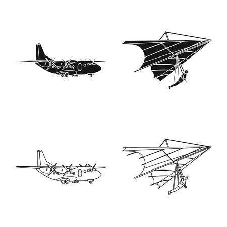 Vector design of plane and transport symbol. Collection of plane and sky stock vector illustration.
