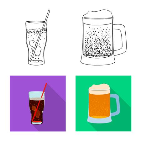 Diseño vectorial de bebida y bar. Conjunto de símbolo de stock de bebida y fiesta para web. Ilustración de vector