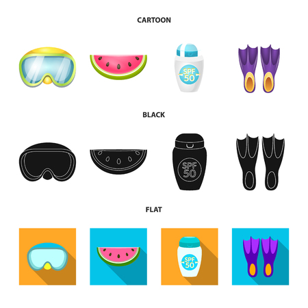 Vector design of equipment and swimming icon. Set of equipment and activity stock vector illustration.