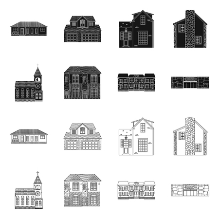 Vector design of building and front icon. Collection of building and roof stock vector illustration.