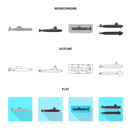 Vector illustration of war  and ship icon. Collection of war  and fleet vector icon for stock. Ilustracja