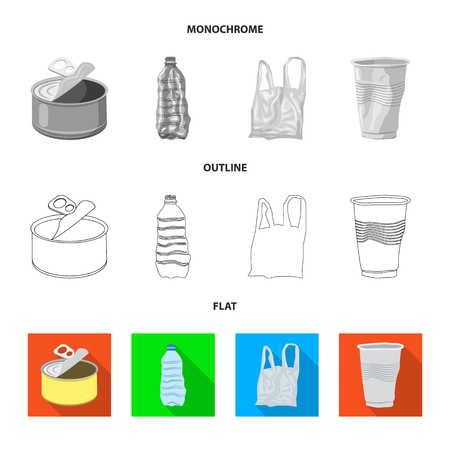 Vector design of dump  and sort sign. Collection of dump  and junk vector icon for stock. Vettoriali