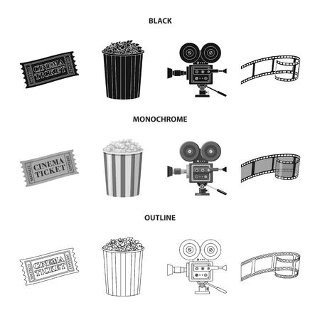 Vector design of television and filming symbol. Set of television and viewing stock vector illustration. Ilustração