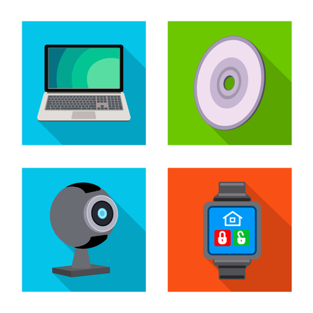 Vector design of laptop and device icon. Collection of laptop and server stock symbol for web. Stock Vector - 118923650