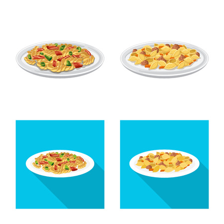 Vector illustration of pasta and carbohydrate sign. Collection of pasta and macaroni vector icon for stock.