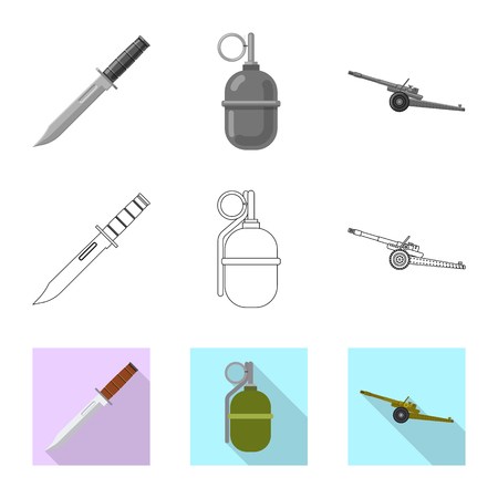 Isolated object of weapon and gun icon. Set of weapon and army vector icon for stock. Stock Vector - 118923976