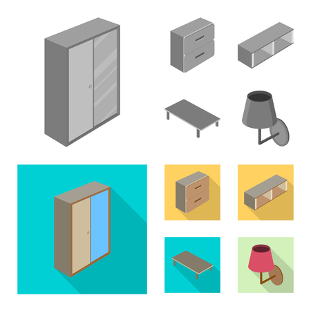 Isolated object of bedroom and room. Collection of bedroom and furniture vector icon for stock.