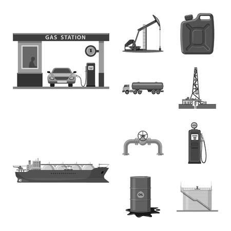 Conception de vecteur du symbole du pétrole et du gaz. Collection d'icône de vecteur d'huile et d'essence pour le stock.