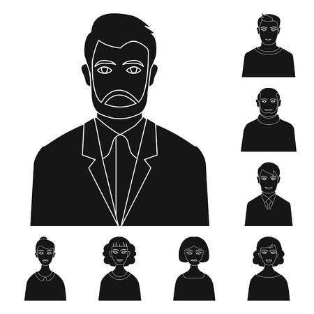 Vector illustration of photo and character  sign. Collection of photo and face stock symbol for web.
