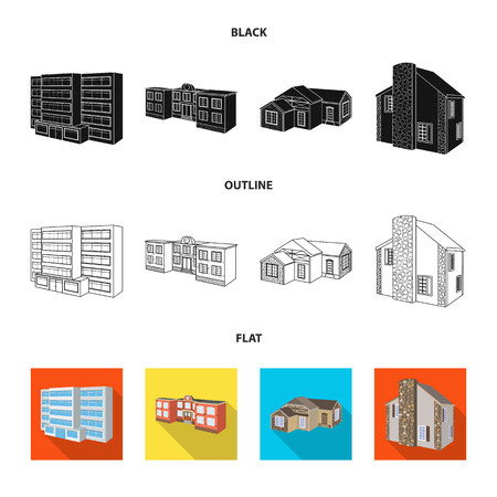 Isolated object of facade and housing. Collection of facade and infrastructure stock vector illustration.