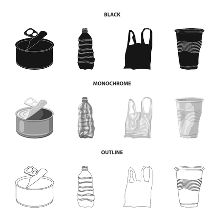 Vector illustration of dump  and sort. Set of dump  and junk stock symbol for web. Vettoriali