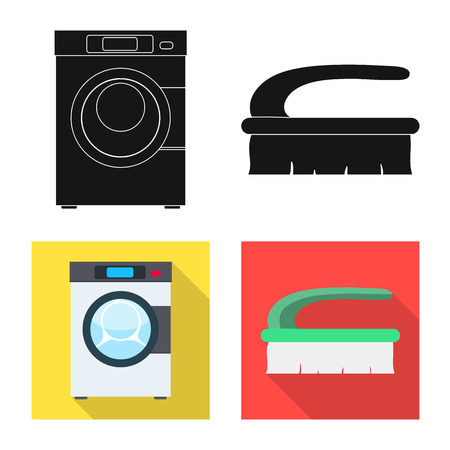 Vector design of laundry and clean sign. Set of laundry and clothes vector icon for stock. Ilustração