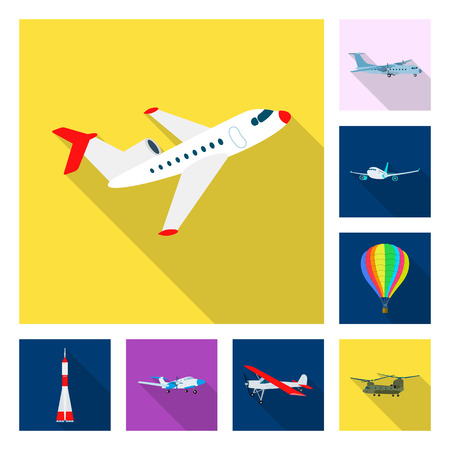 Vector illustration of plane and transport. Set of plane and sky stock symbol for web. Illustration
