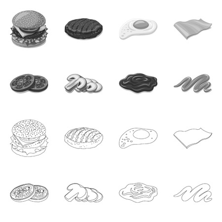 Isolated object of burger and sandwich sign. Set of burger and slice stock symbol for web.