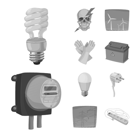Isolated object of electricity and electric. Set of electricity and energy stock symbol for web.