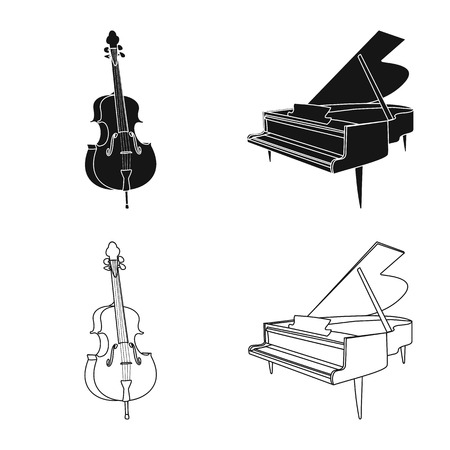 Vector illustration of music and tune icon. Set of music and tool vector icon for stock. Banque d'images - 118928036