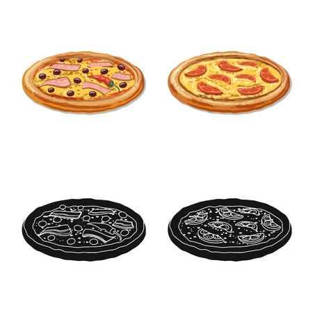 Vector illustration of pizza and food icon. Collection of pizza and italy vector icon for stock. 일러스트