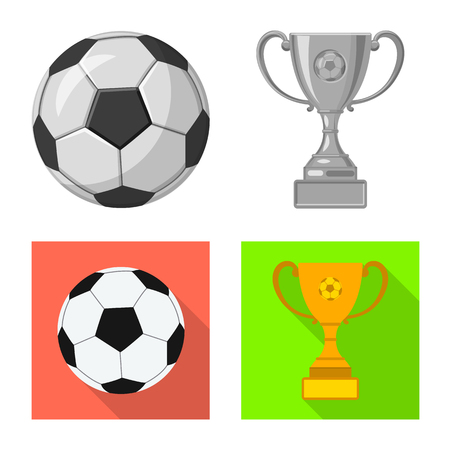 Vector illustration of soccer and gear sign. Set of soccer and tournament stock vector illustration.