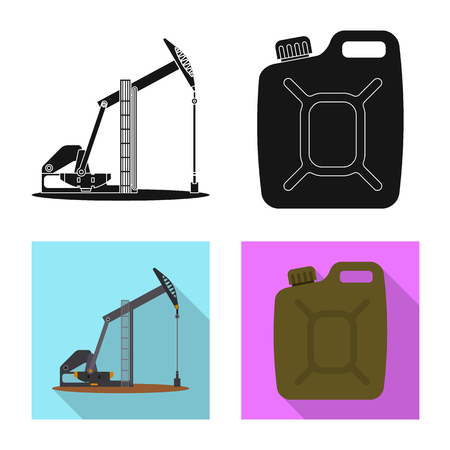 Vector design of oil and gas sign. Set of oil and petrol vector icon for stock.