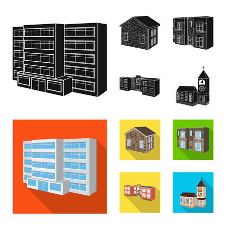 Vector illustration of facade and housing symbol. Set of facade and infrastructure stock vector illustration.