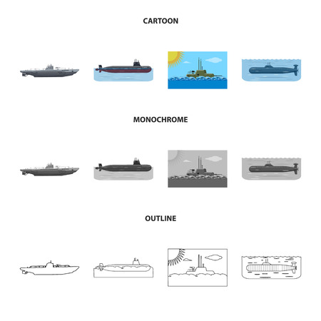 Vector design of war  and ship icon. Set of war  and fleet stock vector illustration. Ilustracja
