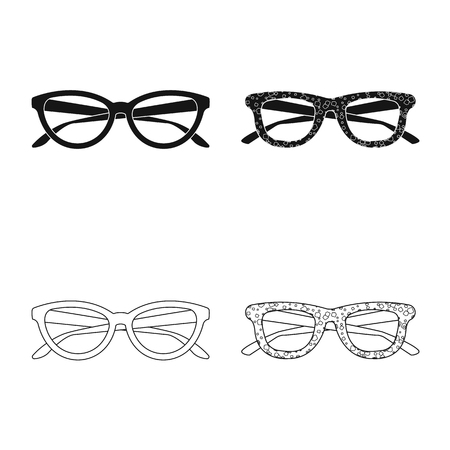 Vector illustration of glasses and sunglasses icon. Set of glasses and accessory stock vector illustration. Ilustração