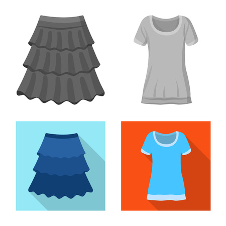 Vector illustration of woman and clothing sign. Collection of woman and wear vector icon for stock. Stock Vector - 119003366