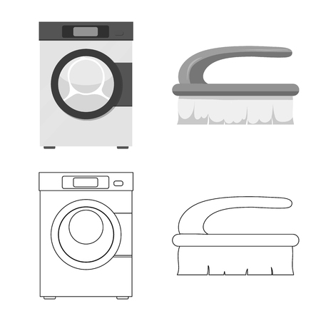 Isolated object of laundry and clean. Collection of laundry and clothes vector icon for stock.