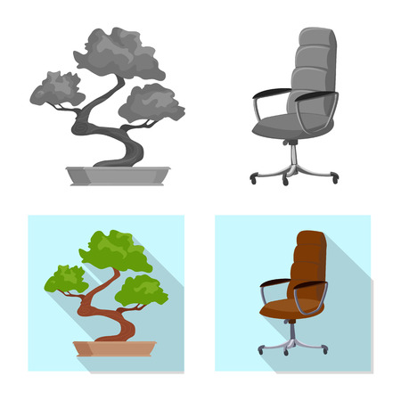 Isolated object of furniture and work. Set of furniture and home vector icon for stock.