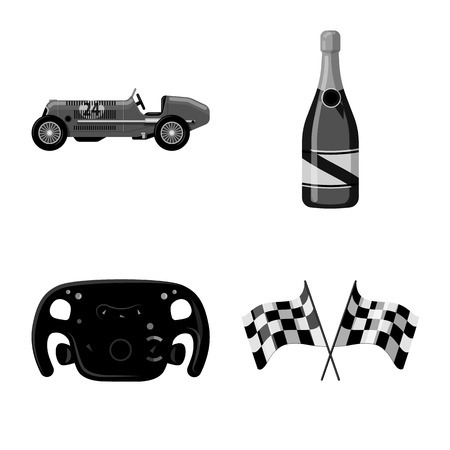 Vector illustration of car and rally. Collection of car and race vector icon for stock.