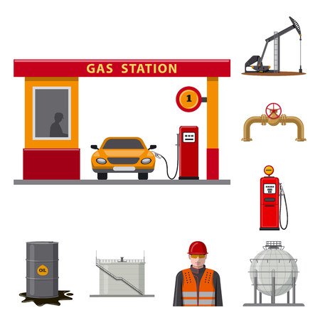 Vector illustration of oil and gas. Collection of oil and petrol stock symbol for web. Illustration