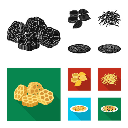 Vector design of pasta and carbohydrate symbol. Collection of pasta and macaroni vector icon for stock.