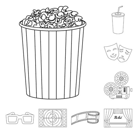 Isolated object of cinematography and studio sign. Set of cinematography and entertainment vector icon for stock.