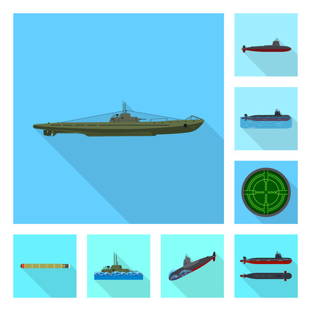 Vector design of military and nuclear symbol. Set of military and ship stock vector illustration.