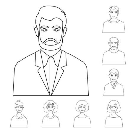 Vector illustration of character  and avatar. Collection of character  and person vector icon for stock. Çizim