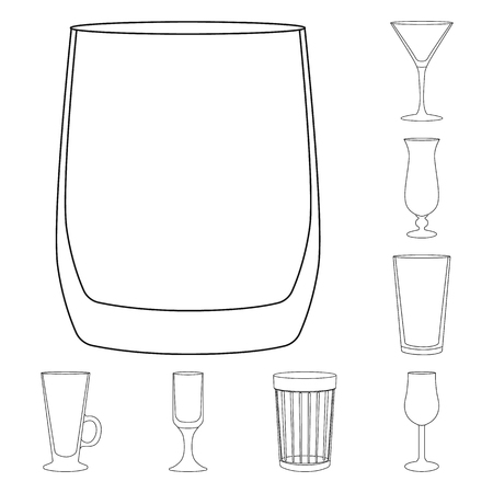 Isolated object of dishes and container symbol. Collection of dishes and glassware stock symbol for web.