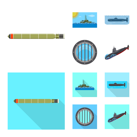 Vector design of war and ship symbol. Set of war and fleet stock symbol for web.