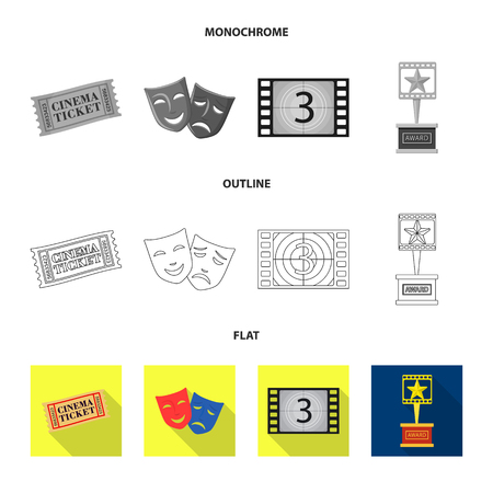 Vector design of television and filming sign. Set of television and viewing vector icon for stock.