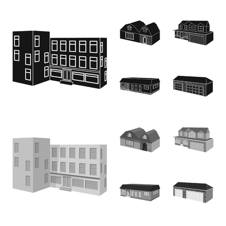 Isolated object of facade and housing sign. Set of facade and infrastructure vector icon for stock.
