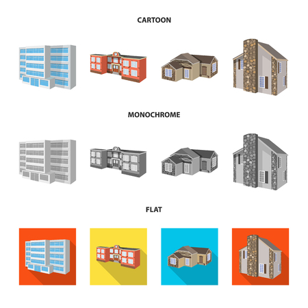 Vector design of facade and housing sign. Set of facade and infrastructure stock symbol for web.  イラスト・ベクター素材