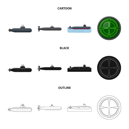 Vector design of war  and ship sign. Set of war  and fleet stock symbol for web.