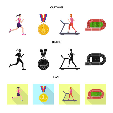 Vector illustration of sport and winner logo. Collection of sport and fitness vector icon for stock. Logo
