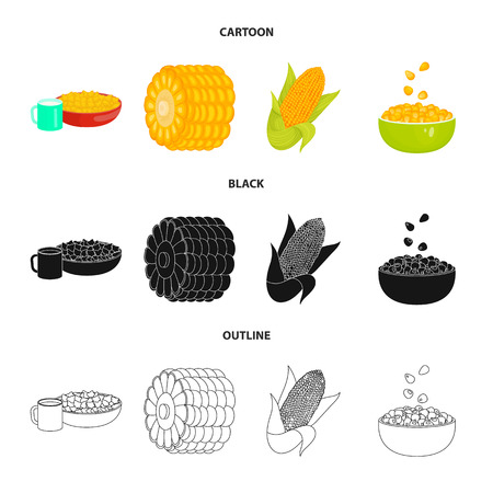 Vector design of cornfield and vegetable sign. Set of cornfield and vegetarian stock vector illustration. Illustration