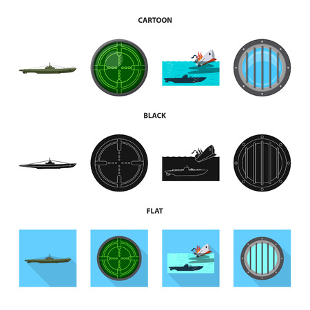 Vector design of war  and ship logo. Set of war  and fleet stock vector illustration. 일러스트