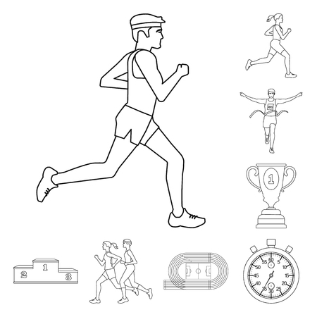 Vector design of exercise and sprinter. Collection of exercise and marathon vector icon for stock.