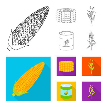 Vector design of cornfield and vegetable symbol. Set of cornfield and vegetarian vector icon for stock.