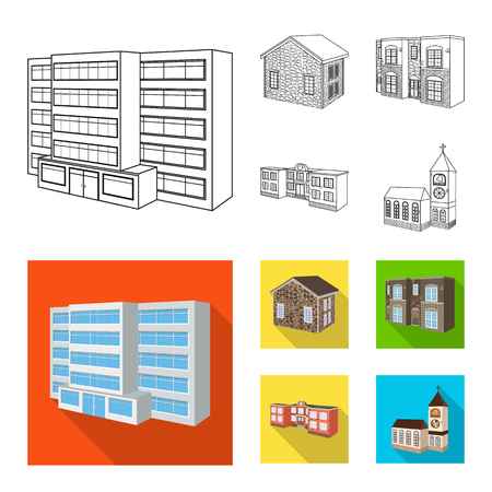 Vector design of facade and housing sign. Collection of facade and infrastructure stock vector illustration.